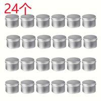 24 упаковка круглые металлические банки коробки свеча олова черная алюминиевая банка хранение пустой горшок простой крем косметический контейнер