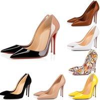 2021 Yeni Yüksek Topuk Yani Kate Tasarımcılar Elbise Ayakkabı Stilleri Kırmızı Dipler Bayan Stiletto Topuklu 8 10 12 cm Hakiki Deri Noktası Toe Pompaları Loafer'lar Lastik Boyutu 35-42