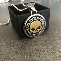 3pcs lot Motorcycles Willie G Skull Necklace 316L Stainless Steel Fashion Jewelry Motorbiker Gold Silver Pendant With Chain