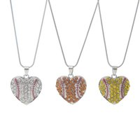 Charm Rhinestone Baseball Necklace Softball Pendant Necklace Love Heart Sweater Jewelry Accessories Party Favor Gifts 0359