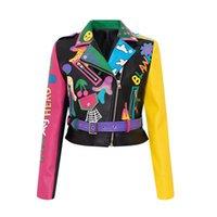 여성 가죽 가짜 패션 낙서 리벳 구슬 PU 코트 여성 체인 자켓 재킷 펑크 록 자른