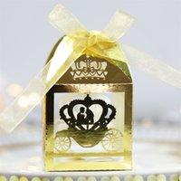 50 unids Blanco Láser Corte Encantado Caja de matrimonio, Caja de calabaza Favor de Boda Caja Caja de regalo Caja de caramelo GGA4245