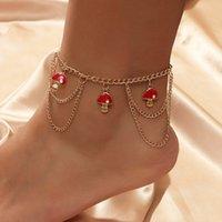 لطيف الأحمر المينا الفطر المعلقات الخلخال للنساء الفتيات بسيطة أزياء الذهب اللون سلسلة المعادن الخلخال شاطئ نمط مجوهرات هدية