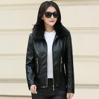 Women's Leather & Faux Big Size 6xl Women Motorcycle Coat Fur Collar Long Sleeve Solid Casual Tops 2021 Autumn Winter Pu Ladies Jacket