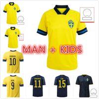 2021 Швеция футбольные трикотажные изделия Forsberg Lindelof Guidetti Fooball рубашка Ibrahimovic Kallstrom National Maillot человек детский комплект