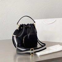 2021 جديد كل جلد أسود مصمم المرأة دلو حقيبة التسوق مجانا سعة كبيرة المرأة حقيبة التسوق حمل حقيبة حقائب الكتف محفظة