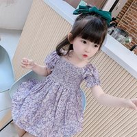 Girl's Dresses Baby Girls Short Puff Sleeve Flower Print Clothes Kids Summer Princess Children Party Ball Pageant Dress Outfit For 1-7t