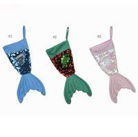 2018 New Bling Bling Mermaid Christmas Stockings Christmas Decorations Santa Claus Socks Xmas Ornaments Gift Bags Christmas Socks SN853