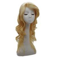 XT697 Perruque de style Lolita Cheveux synthétiques longues perruque brillée Golden Perruque de fibre de chaleur haute 24 pouce