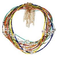 Bohemian Women's Multicolor Pärlor Handgjorda Halsband för kvinnor Boho Fashion Glass Summer Pearl Choker Ladies Smycken Gift 3795 Q2