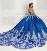 2021 Robe royale de robe de balle perlée Quinceanera robes de spaghetti Spaghetti Col Robes de bal de bal à côtes appliquées Train de balayage appliqué douce 15 robe de mascarade
