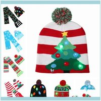 Scarf, Glove Sets Hats, Scarves & Gloves Fashion Aessories Winter Hat Knitted Scarf Lovely Christmas Led Unisex Warm Beanie Hemming Hats Up