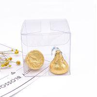 50pieces / lot 명확한 사각형 웨딩 호의 선물 상자 PVC 투명 한 파티 캔디 가방 초콜릿 상자 5x5x5cm Caja de De 딜스