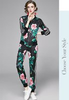 Retro Floral Spring Autumn Pants Sets Women 2021 Long Sleeve Jackets Coat + Casual Trousers 2021 Sweet Girl Urban Elegant Two Piece Runway Fashion Running Printed Suit
