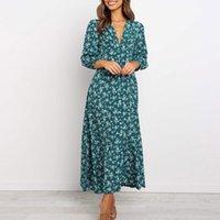 Casual Dresses Floral Long Sleeves Vintage Dress Women Elegant Spring Autumn Fashion V-Neck High Waist Aesthetic