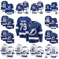 79 Ross Colton 2021 Stanley Cup 챔피언 Jersey 탬파 베이 번개 Andrei Vasilevskiy Brayden Point Nikita Kucherov Hedman Cirelli Gourde McDonagh