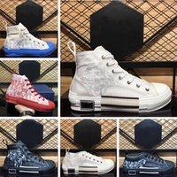 B23 des chaussures de marque de luxe grande taille nous 12 broderie technique oblique baskets en toile imprimées hommes femmes mode paires plate-forme baskets casual eur 35-46