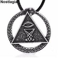 Nostalgie Sigil von Lucifer Geometrische Halskette Alle Sehen Auge Anhänger Pagan Wicca Amulett Kirche Satan Jewerly Frau