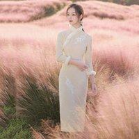 Ethnic Clothing Sexy Winter Warm Women Cheongsam Elegant Thick Evening Party Long Sleeve Qipao Vestidos Traditional Slim Orental Daily Robe