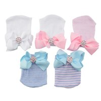Baby Shining diamond ribbon Big bows hats Newborn stripe knitting hat Infant cotton soft Beanie fit 0-3M pink blue white A7935