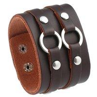 Tennis Punk Fashion Wide Genuine Leather Bracelet Cuff Vintage Brown Circle Charms Cowhide Bangle Wristbands Unisex Biker Retro Jewelry