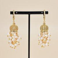 GuaiGuai Jewelry Natural Beautiful White Pearl CZ Paved Hook Earrings For Women Real Gems Stone Lady Fashion Jewellry