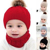 Hair Accessories Toddler Kids Baby Boy Girl Fur Pom Hat Winter Warm Knit Bobble Beanie Cap Scarf