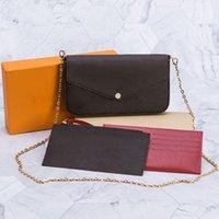 Lady 3 pieza Conjunto con caja de origianl Bolso de mujer Bolso de hombro Moda Montones de embrague de cuero genuino Fábrica de alta calidad Crossbody Bolsas de lona billetera mujer
