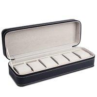 6 슬롯 시계 상자 휴대용 여행 지퍼 케이스 수집가 저장 보석 보관함 상자 (블랙) 311 T2
