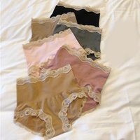 Women's Panties Pairs Of High Waisted Lace Edge Girl's Underwear With Sexy Buttock Bottomed Antibacterial Briefs