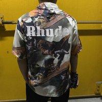 2021 Rhude Yağlıboya Gömlek Kısa Kollu Bounty Hunter Geri Mektup Baskı Yüksek Sokak Moda Siluet Erkek T-shirt