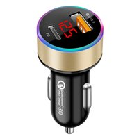 USB C 자동차 충전기 38W 듀얼 USB 자동차 충전기 어댑터 20W PD 포트, QC 3.0 및 Iphone 12에 대 한 LED 전압계 Huawei Xiaomi