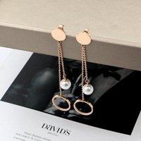 매달아 샹들리에 패션 기질 여성 쥬얼리 사랑 서리 낀 직사각형 브랜드 귀걸이 티타늄 강 여성용 선물 도매