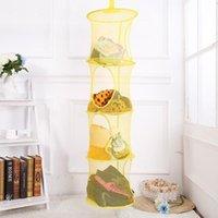Storage Bags 4 Shelf Multi-function Folding Hanging Basket Mesh Bag Toy Organizer Bathroom Kitchen Closet Tools