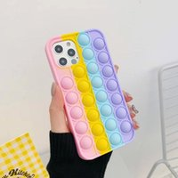 Push it Fidget Decompression Rainbow Phone Cases For iPhone 12 11 Pro Max Xs Xr 7 8 Plus Soft Silicone Cover