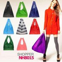 Eco Friendly Storage Handbag Bolsos de compras utilizables plegables de poliéster reutilizable portátil nylon bolsa grande color puro 1 79dg bb