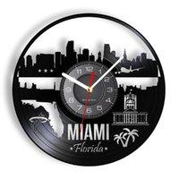Wall Clocks Miami Cityscape Clock Made Of Re-purposed Record America Costal City Landscape Luminous Timepiece Retro Traveler Gift