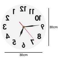 Обратные настенные часы Необычные номера назад Современные декоративные часы Смотреть отличные часы для вашей стены 2180 V2