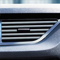 10pcs 20cm Car Air Vent Strips Grille Switch Rim Trim Outlet Decoration Strip Air Outlet Trim Car Styling Mouldings Car Stikers