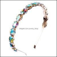 Headbands Jewelry Jewelrybling Colorf Crystal Rhinestone Headband Thin Single Row Glass Drill Oval Hairband Head Band For Women Hair Aessori