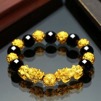 21ss High quality Obsidian gold-plated bracelet men's and women's Jewelry Buddha beads Fashion