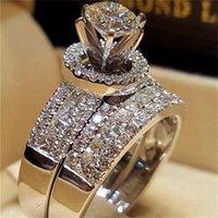 럭셔리 크리스탈 다이아몬드 여성 큰 여왕 반지 세트 패션 925 여성을위한 실버 신부 결혼 반지 약속 사랑 약혼 반지 22 r2
