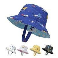 أطفال دلو القبعات على الوجهين ارتداء واسعة بريم قبعة الكرتون الطباعة شاطئ قبعة طوي حماية أزياء سانياهوس أزياء قبعات الصيف مع حبل يندبروف WMQ1239