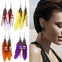 Alas creativas Forma Cuelga Pendientes de araña Moda Tassel con cuentas Fake Feather Decoración Drop Pendiente Accesorios de joyería
