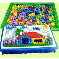296 peças caixa-embalada de grão cogumelo esferas de unhas inteligentes jogos de quebra-cabeça 3D jigsaw board para crianças crianças brinquedos educativos atacado
