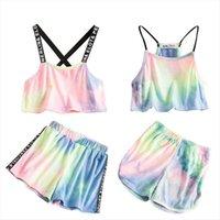 Toddler Kids Clothes Set Girls Summer Colorful Print Rainbow Sport Children Sling Vest Backless Crop Top Short Pants Tracksuits