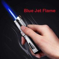 Jobon Feuerzeug Winddicht blau Feuerwerk Flint Metall Fackelanzünder Aufblasbare Gas Butan Zigarre Feuerzeug Zigarette ENSEendes H0909