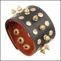 Charm Bracelets Jewelry Fashion Alloy Rivet Sudded Leather Bracelet Black Punk Wide Cuff Wristband Adjustable Snap Fastener Jewelry Gifts Fo