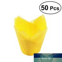 50 Buah Pembungkus Cupcake Doublure Tulip Bentuk Muffin Wadah Cup Kue Pesta Nikmat (Kuning)