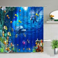 Shower Curtains Ocean Animal Dolphin Beach Palm Tree Tropical Fish Scenery Bathroom Waterproof Fabric Bath Curtain Set With Hook